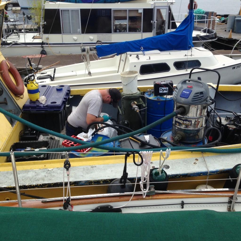Felix Marine boat with polishing equipment